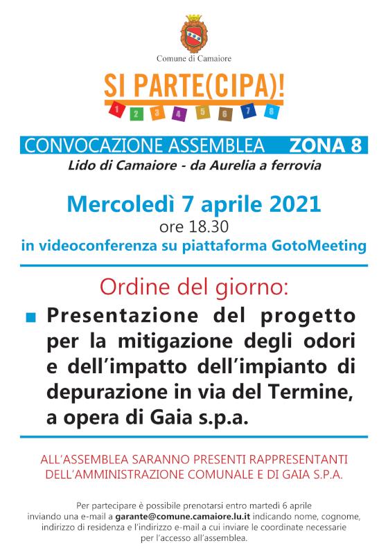 Convocata assemblea di zona 8 per mercoledì 7 aprile 2021