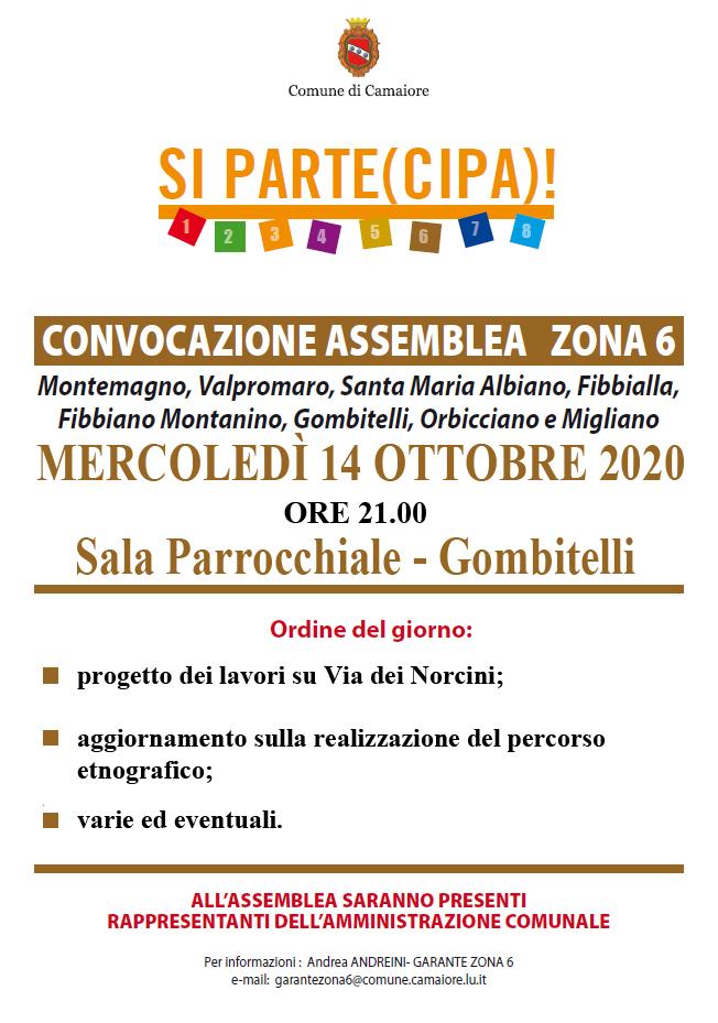 Convocata assemblea di zona 6 per mercoledì 14 ottobre