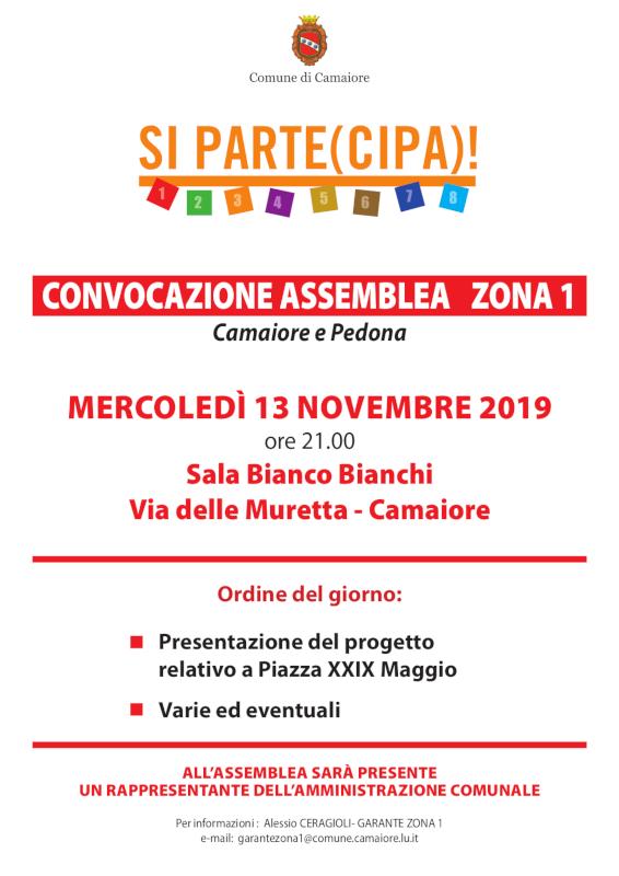 Convocazione Assemblea di Zona 1 per mercoledì 13 novembre 2019