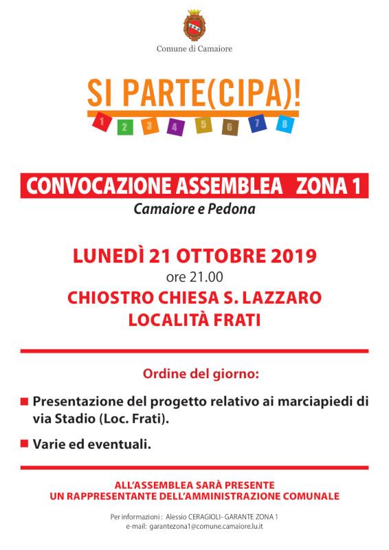 Convocazione Assemblea Zona 1 per lunedì 21 ottobre 2019