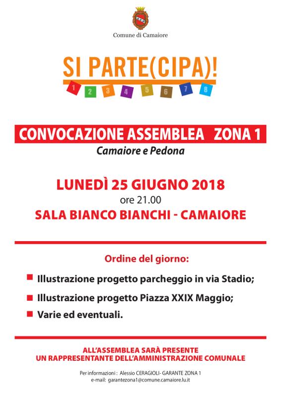 Convocazione assemblea Zona 1 - 25 giugno 2018