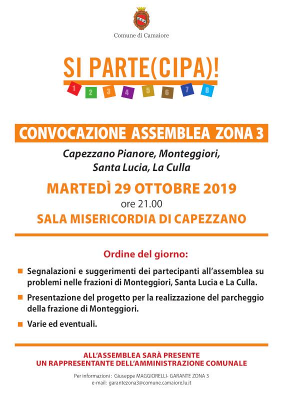 Convocazione Assemblea Zona 3 per martedì 29 ottobre 2019
