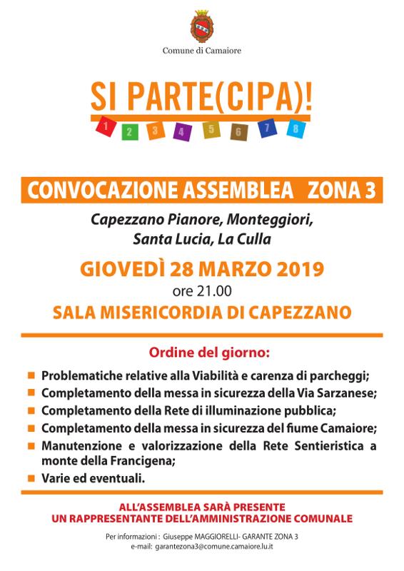 Convocata assemblea zona 3 - 28 marzo 2019