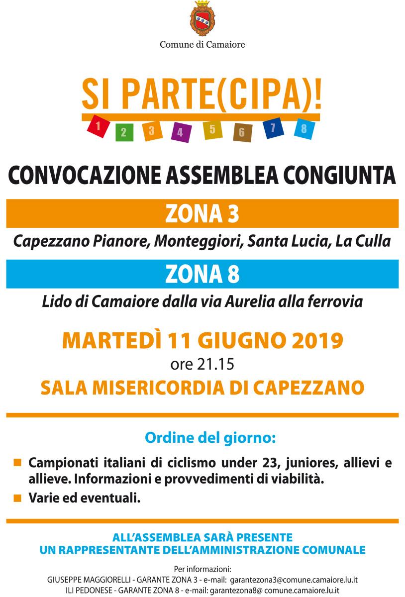 Convocazione assemblee zona 3 e 8 per l'11 giugno 2019