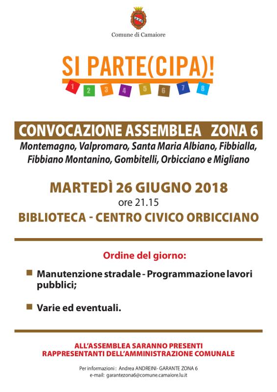 Convocazione assemblea Zona 6 - 26 giugno 2018