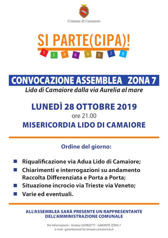 Convocazione Assemblea Zona 7 per lunedì 28 ottobre 2019