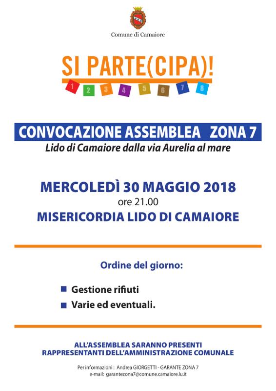 Convocazione assemblea Zona 7 - 30 maggio 2018