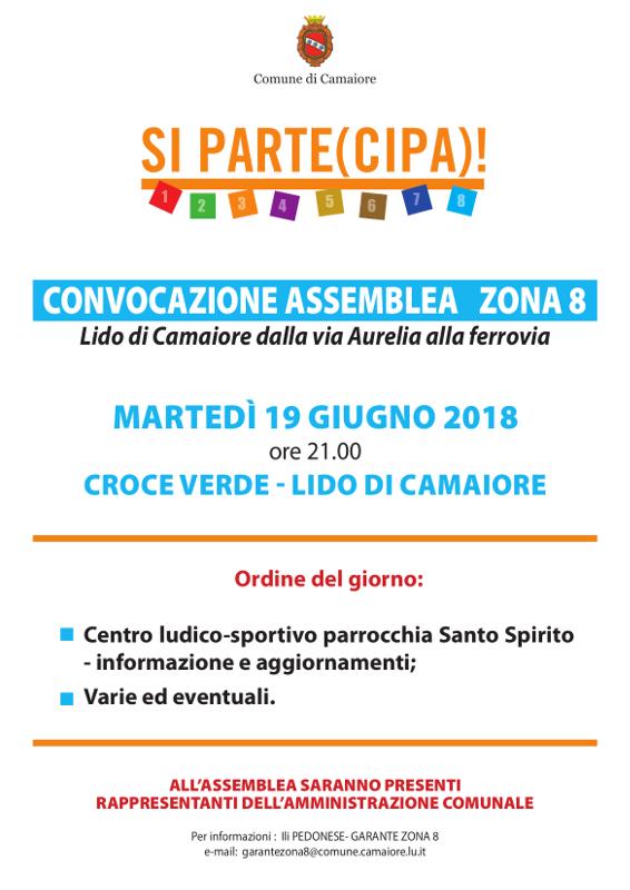 Convocazione assemblea Zona 8 - 19 giugno 2018