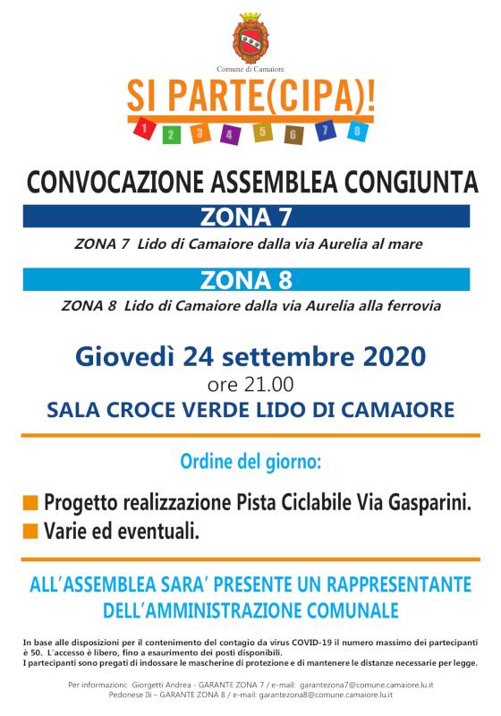 Convocata assemblea di zona 7 e 8 per giovedì 24 settembre
