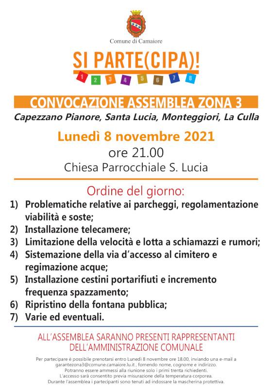 Convocata assemblea di zona 3 per lunedì 8 novembre 2021