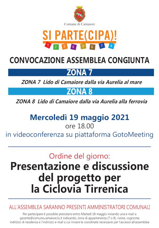 Convocata assemblea congiunta di zone 7 e 8 per mercoledì 19 maggio 2021