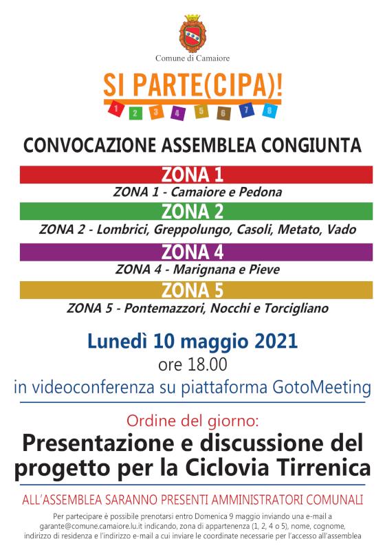 Convocata assemblea congiunta di zone 1, 2, 4 e 5 per lunedì 10 maggio 2021