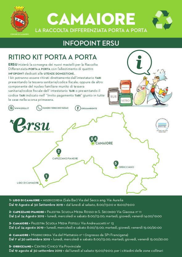 Dal 2 settembre i kit di ERSU distribuiti presso la Misericordia di Camaiore