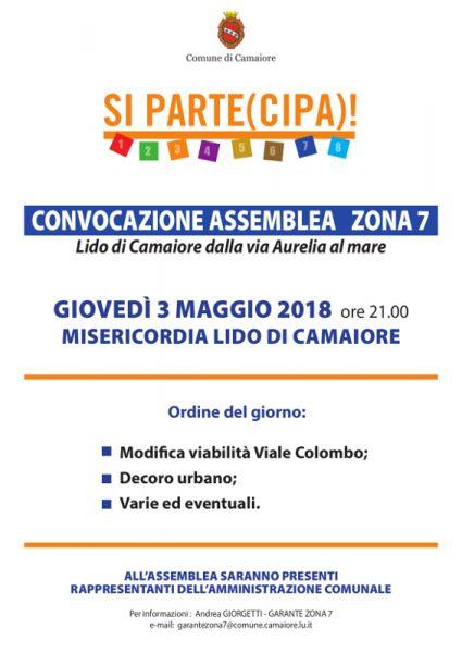 Convocazione assemblea Zona 7 - 3 maggio 2018