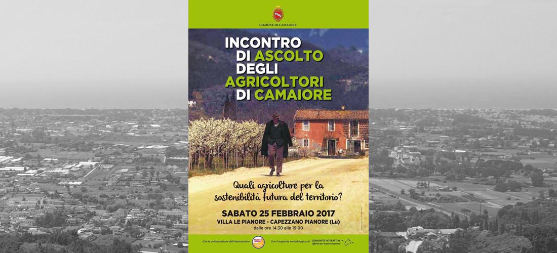 """""""INCONTRO DI ASCOLTO DEGLI AGRICOLTORI DI CAMAIORE"""" IL 25 FEBBRAIO A VILLA LE PIANORE"""