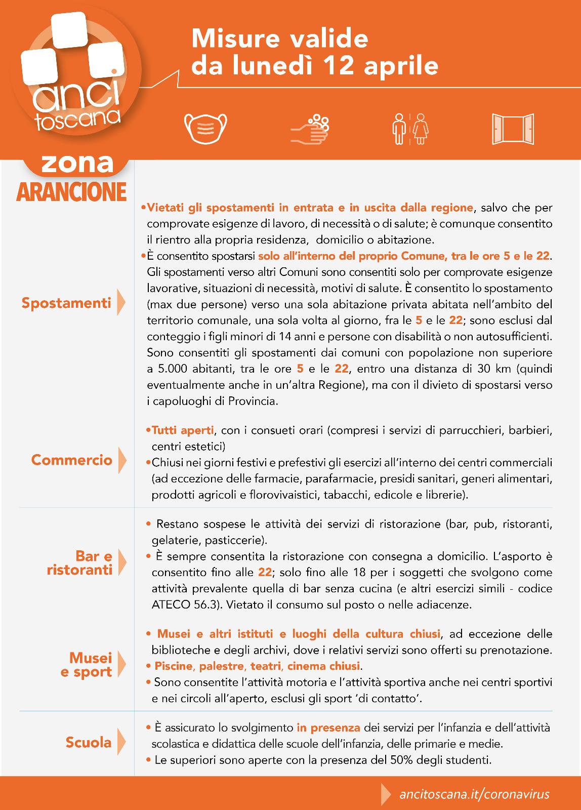 Emergenza Covid-19 - Toscana zona arancione: misure valide dal 12 aprile 2021