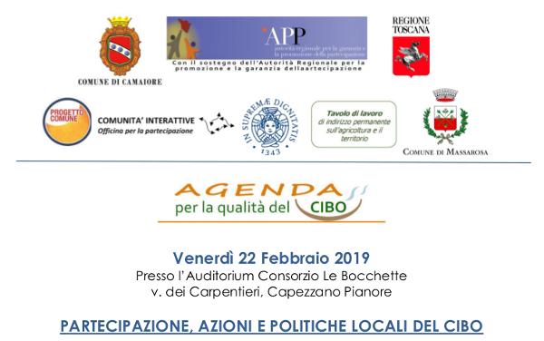 """Giornata conclusiva del percorso partecipativo """"Agenda per la qualità del cibo"""" - 22 febbraio al Consorzio Le Bocchette"""