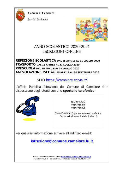Dal 15 aprile iscrizioni online a servizi scolastici di prescuola, trasporto, mensa e agevolazioni ISEE per a.s. 2020/21