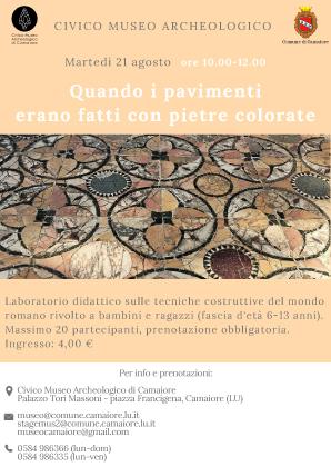 """""""Quando i pavimenti erano fatti con pietre colorate"""": il 21 agosto un laboratorio per bambini al Civico Museo Archeologico"""