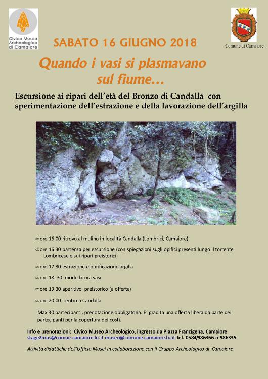 """Sabato 16 giugno - Escursione a Candalla """"Quando i vasi si plasmavano sul fiume..."""""""