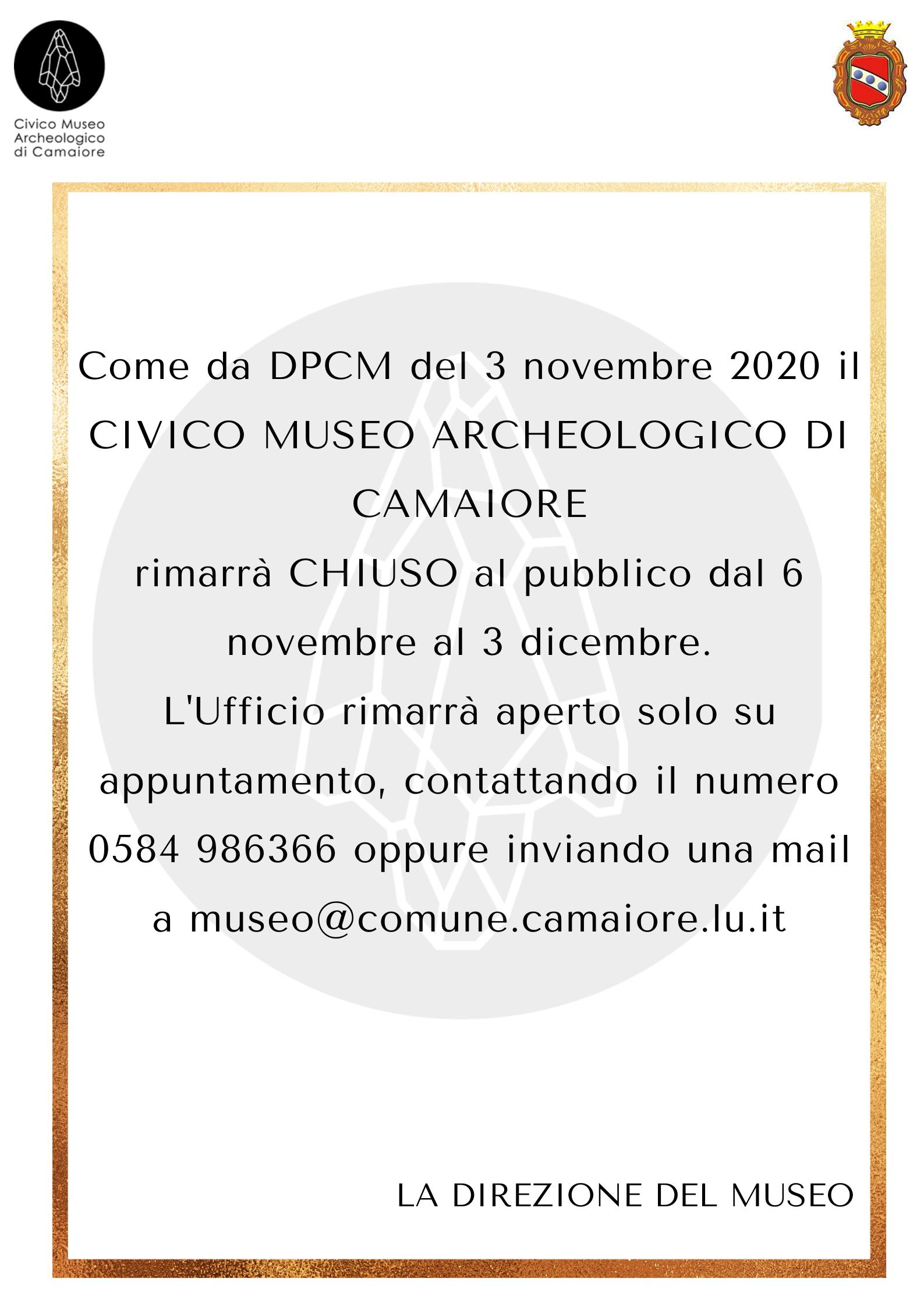 Il Civico Museo Archeologico rimarrà chiuso al pubblico fino al 3 dicembre 2020
