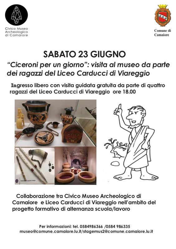 """""""Ciceroni per un giorno"""": visita al museo da parte  dei ragazzi del Liceo Carducci di Viareggio il 23 giugno"""