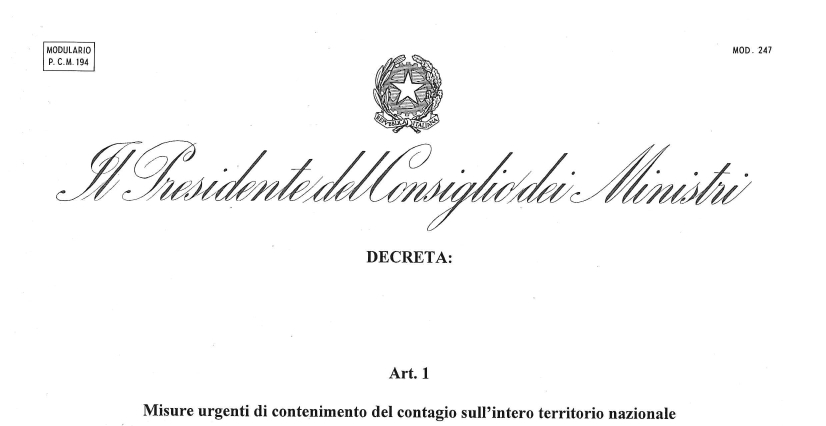 DPCM del 26/04/2020 (valido a partire dal 04/05/2020)