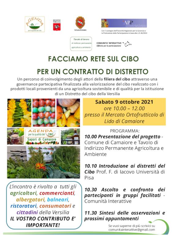 Distretto del cibo della Versilia il 9 ottobre al Mercato ortofrutticolo di Lido di Camaiore