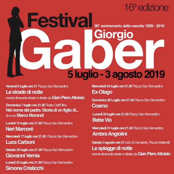 Festival Gaber 2019: Ambra, Luca Carboni, Cosmo, Simone Cristicchi, Ex-Otago, Neri Marcorè, Marco Morandi, Giovanni Vernia e Bebe Vio nel programma