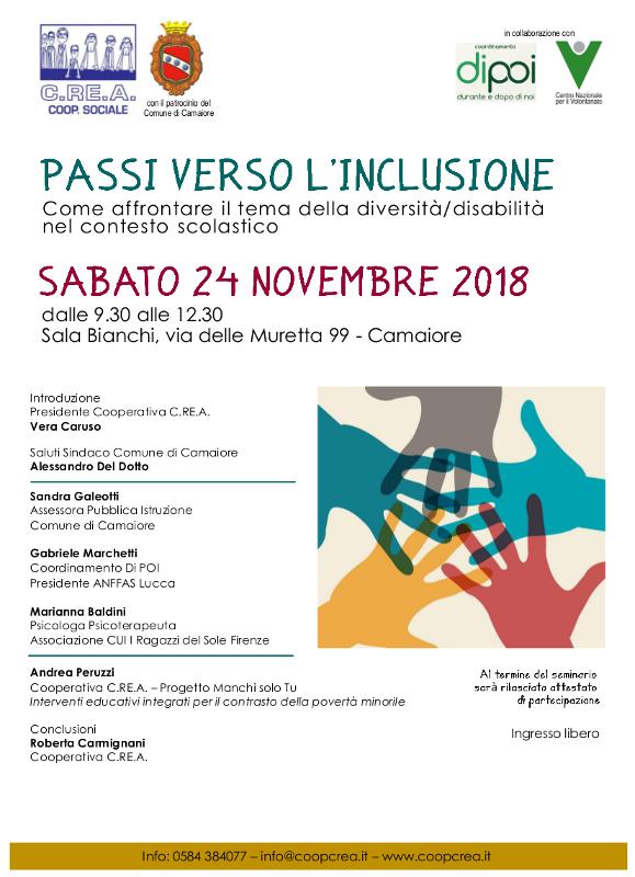 Passi verso l'inclusione - 24 novembre 2018 seminario libero organizzato da coop.va C.RE.A