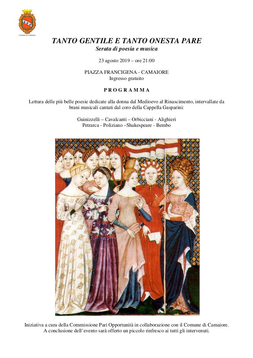 """""""Tanto gentile e tanto onesta pare"""" serata di poesia e musica il 23 agosto in Piazza Francigena"""