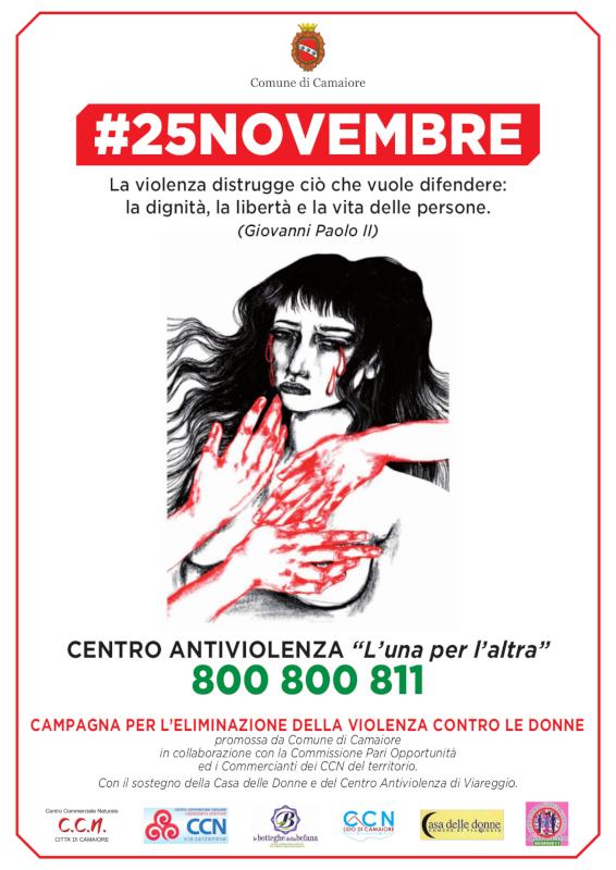Le iniziative del Comune di Camaiore per la Giornata internazionale per l'eliminazione della violenza contro le donne 2020