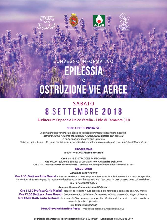 """Convegno formativo """"Epilessia e ostruzione delle vie aeree"""" - 8 settembre presso Ospedale Unico della Versilia"""