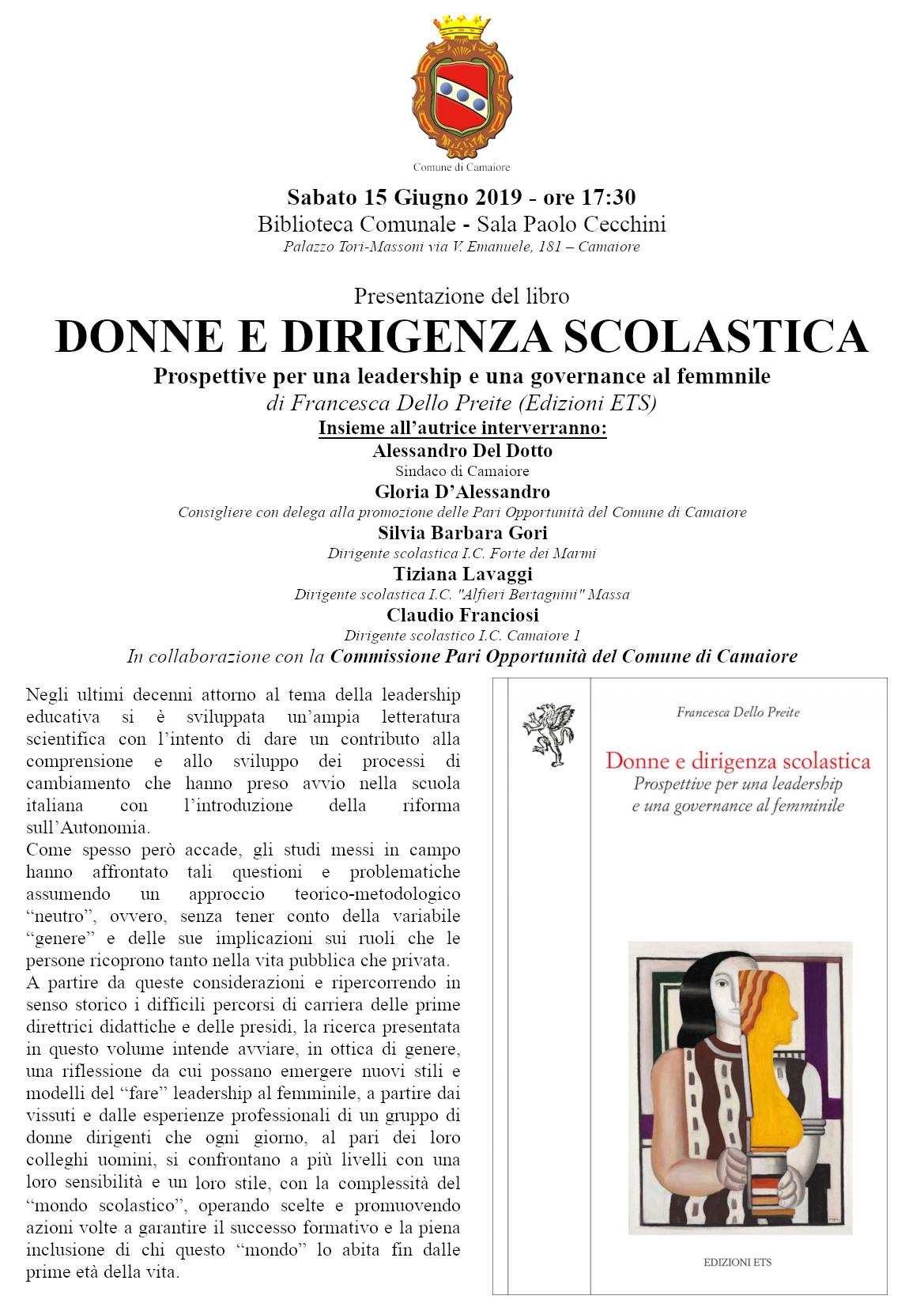 """""""Donne e dirigenza scolastica"""" presentazione del libro di Francesca Dello Preite il 15 giugno alla biblioteca """"M. Rosi"""""""