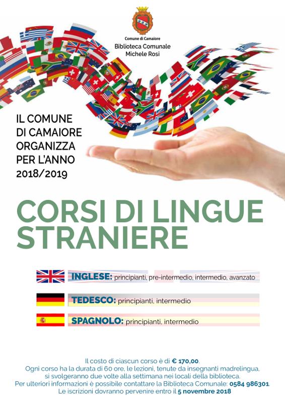 """Corsi di lingua straniera alla Biblioteca """"M. Rosi"""" anno 2018/19"""