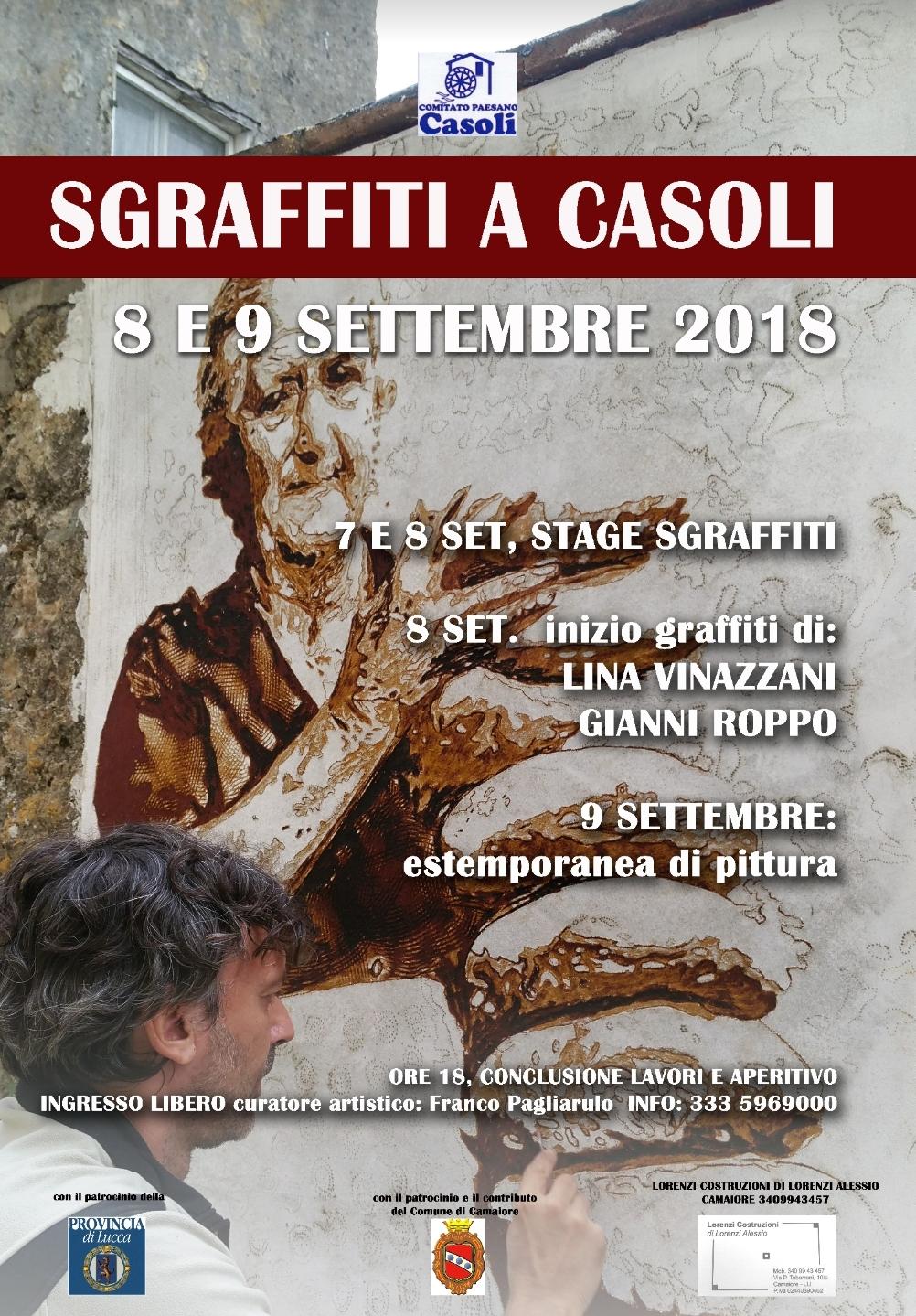 """""""Sgraffiti a Casoli"""": l'8 e 9 settembre all'opera i maestri del graffito"""